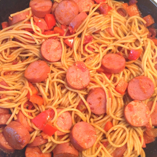Whole wheat pasta, polish sausage, red pepper sautéed with garlic and ...