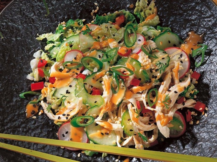 LOOKS YUMMY - Chicken and Vegetable Salad with Chinese Sesame Sauce