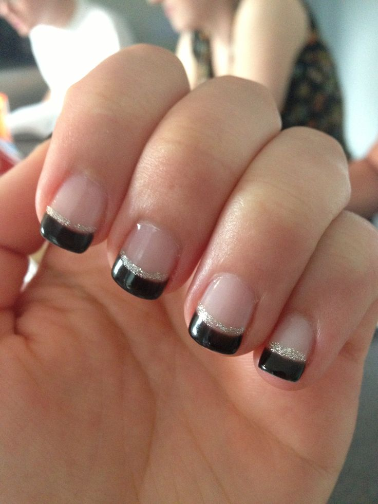 Black Tipped French Gel Manicure Artificial Beauty Pinterest