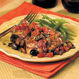 Chicken Thighs with Tomatoes and Olives | MyRecipes.com ~ This would ...