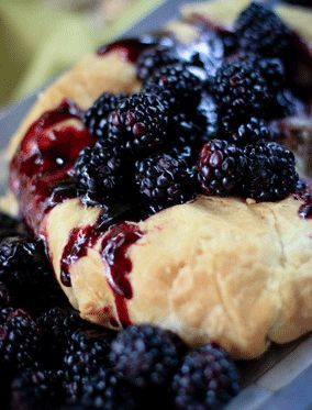Baked Brie topped with fresh Blackberries. Lovely!