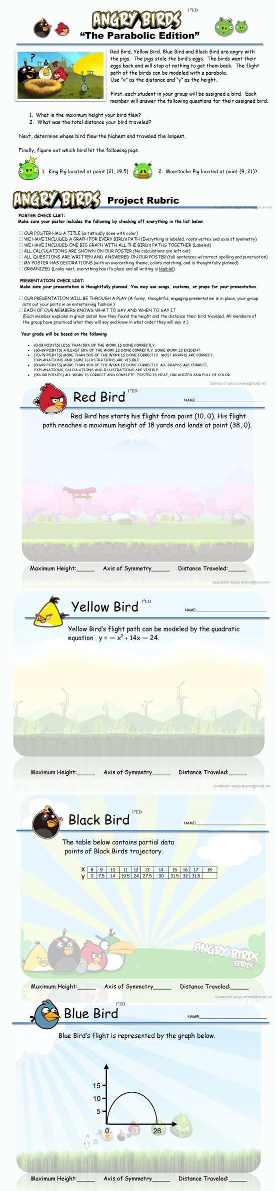 Angry Birds! This is an Algebra 1 lesson on quadratic functions themed ...