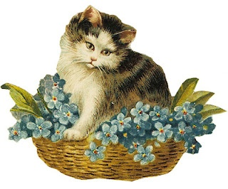 Vintage kitty in basket of flowers