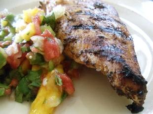 Grilled Jerk Chicken with Mango Salsa   chicken dishes   Pinterest