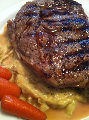 ... Dreaming...: Grilled Ribeye Steak with Onion Blue Cheese Sauce