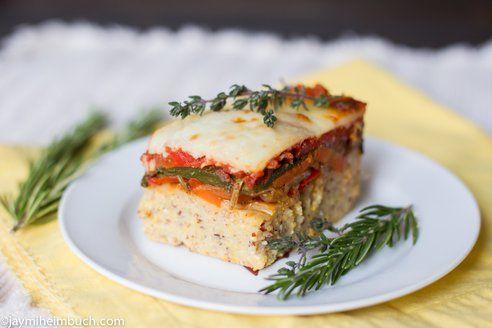 Baked polenta with roasted vegetables, vegetarian recipe