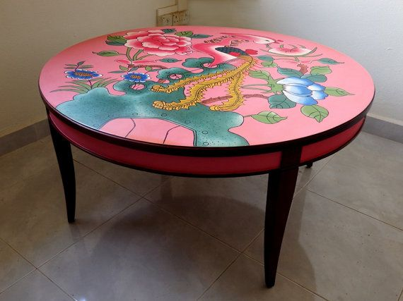 Hand Painted Pink Coffee Table Inspired By Vintage Peranakan Crockery