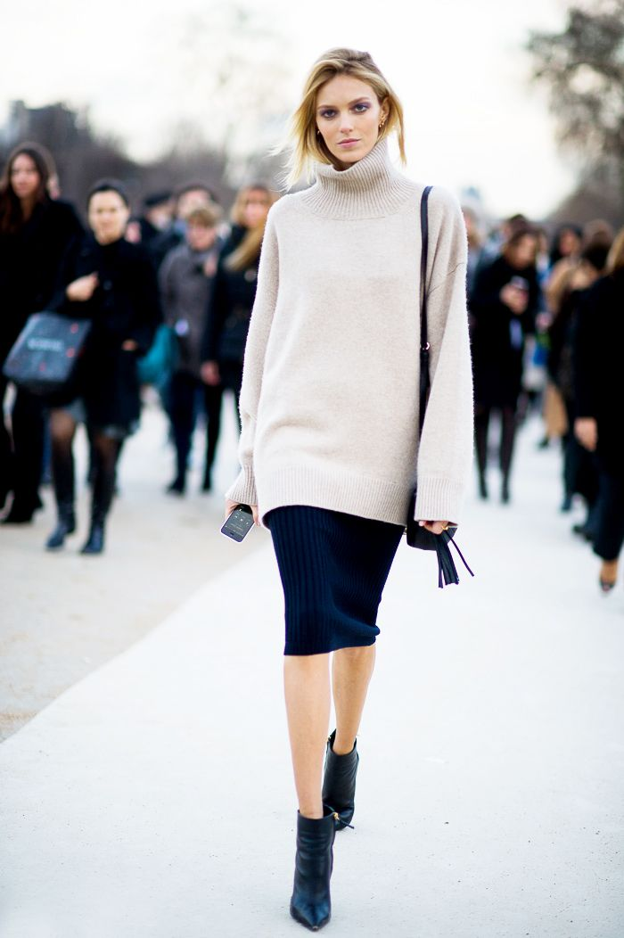 Transition your turtleneck to spring by pairing it with a sleek pencil skirt and ankle boots.