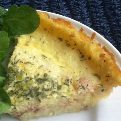 Write: Goat cheese and smoked salmon quiche has a hash-brown crust ...