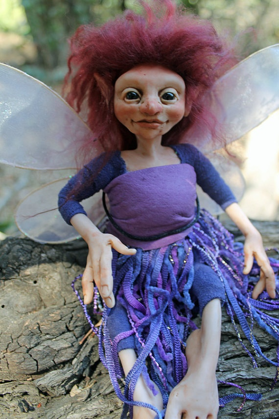 Ooak polymer clay faery art doll fairy sculpture oddfae by oddfae
