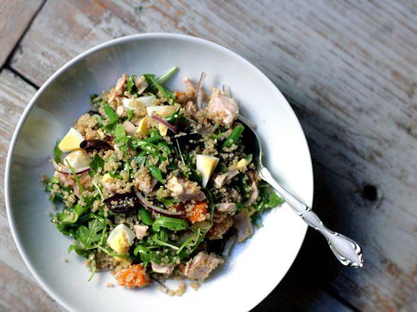 """tuna """"quinoise"""" salad // tuna, quinoa, arugula, sweet potato, haric..."""