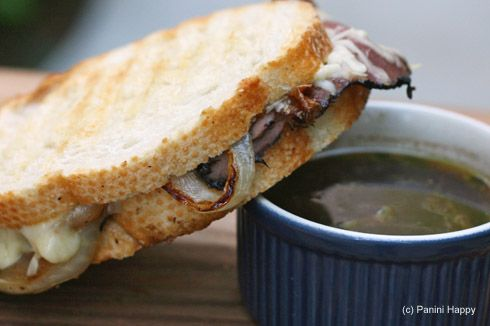 Panini--Roast beef, sweet carmelized onions & Gruyere cheese grilled ...
