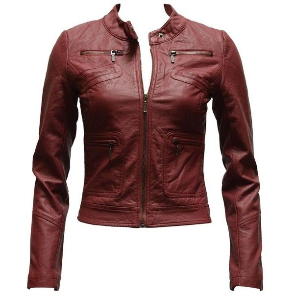 Burgundy leather jacket women