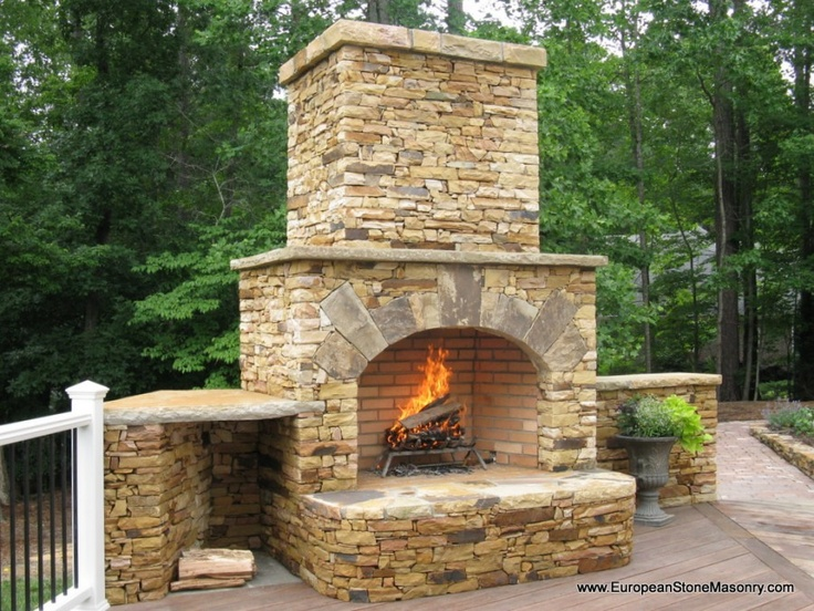 Fireplace With Wood Storage Patio Ideas Pinterest