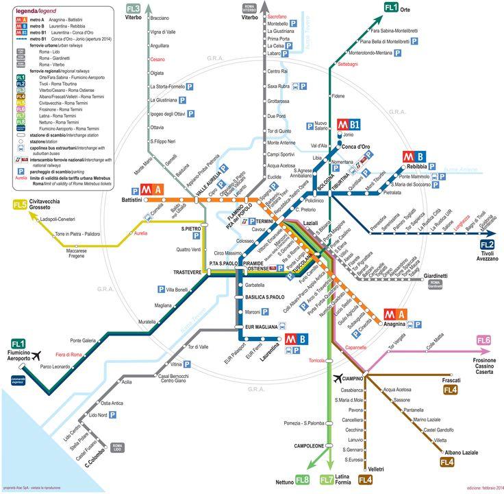 Map of Rome train, urban, commuter & suburban railway network http ...