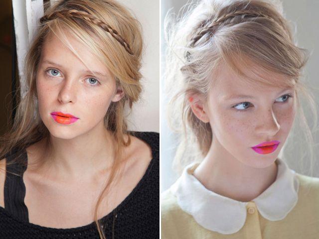 Mini braid and pink + orange lips at Holly Fulton spring 2013