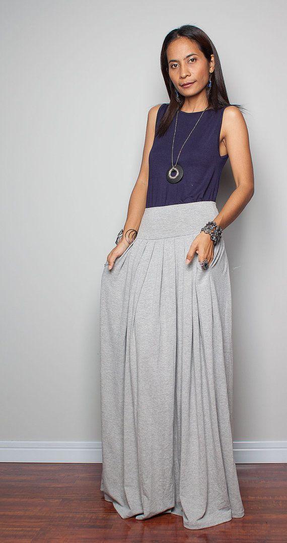 maxi skirt light grey skirt autumn thrills collection