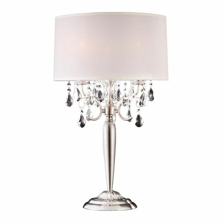 29 5 h wide crystal table lamp with metal base. Black Bedroom Furniture Sets. Home Design Ideas