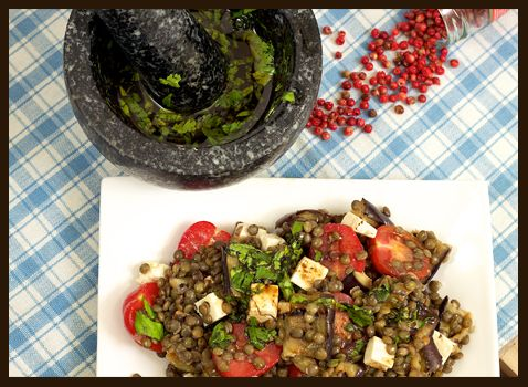 Puy lentil, aubergine and feta cheese salad with balsamic vinaigrette