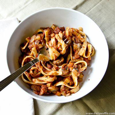 Mushroom Ragu with Fettuccine {Via Daily Waffle}