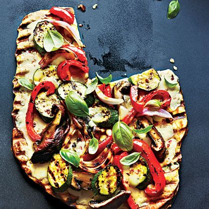 Grilled Vegetable and Fontina Pizza Recipe by Cooking Light | Maypurr