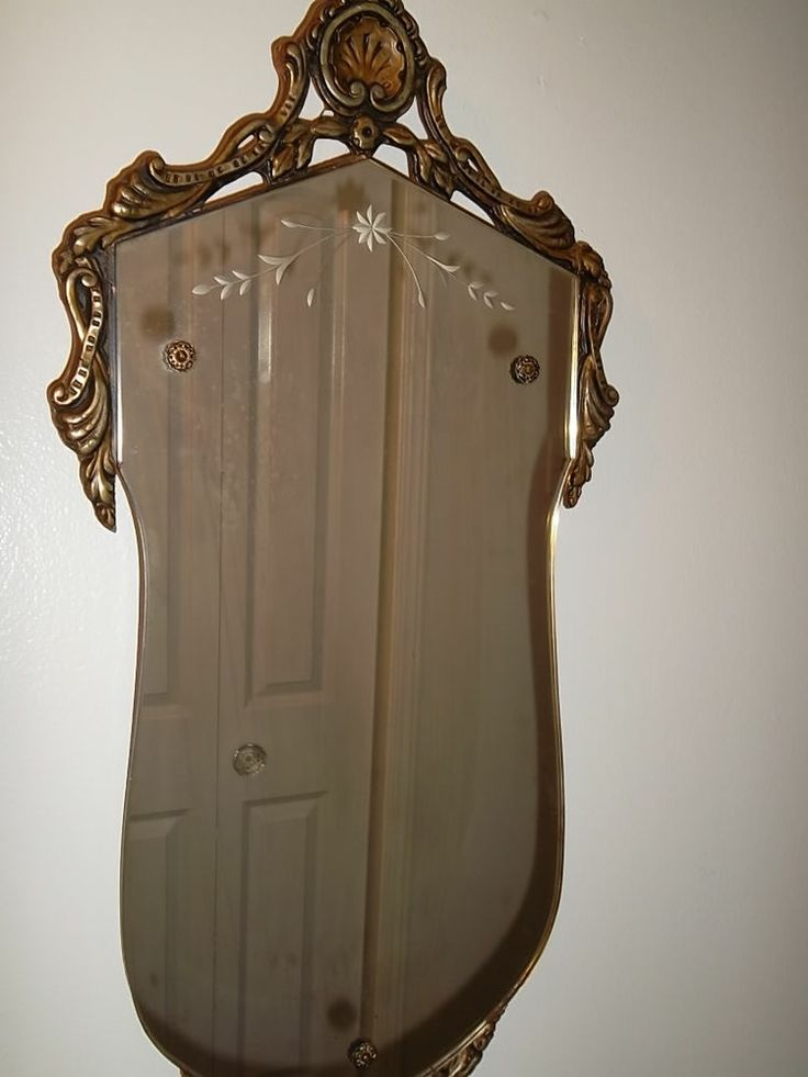 Rare antique vtg victorian etched wall mirror gilt wood for Victorian mirror