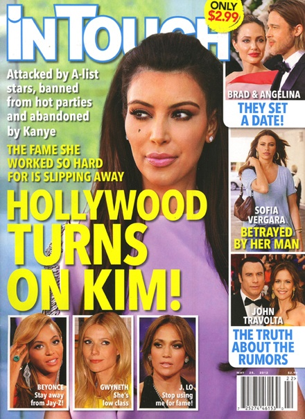 In Touch mag claims that Kim Kardashian is being abandoned by all of her celebrity friends. http://www.glamourvanity.com/scandals/kim-kardashian-attacked-abandoned-and-ignored-by-all-of-her-famous-friends/
