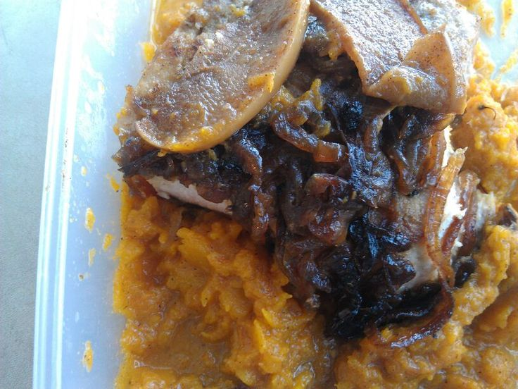 Apple Onion Cinnamon Pork Chops over CrockPot Butternut Squash – The ...
