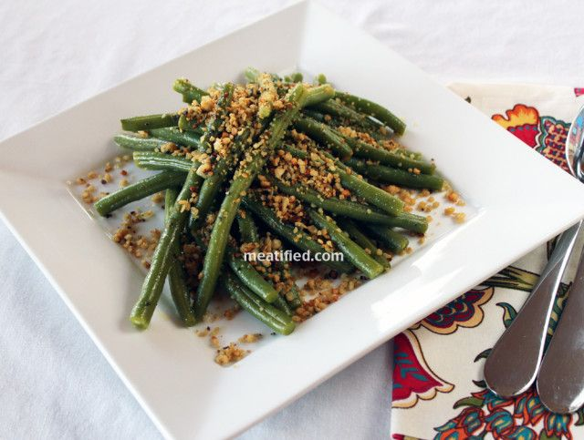 Green Beans with Lemon & Sage Crumbs - use quinoa in place of chicken