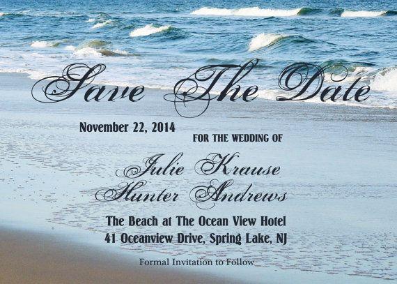 Beach wedding save the date card diy your by ginawaltersdorffart 15