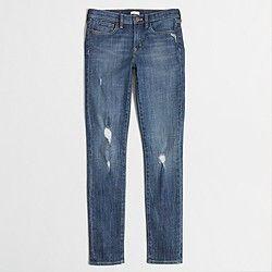 Factory midrise skinny jean in distressed indigo