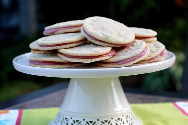 Raspberry Cream Sandwich Cookies ... flour, baking soda, salt, butter ...