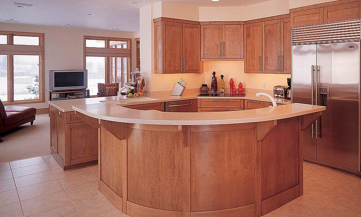 curved kitchen island birch wood kitchen islands