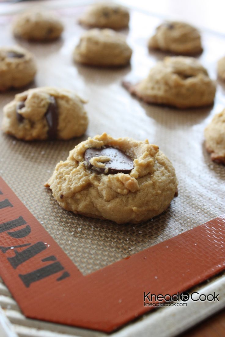 Sea Salt topped Peanut Butter Chocolate Chip Cookies. # ...