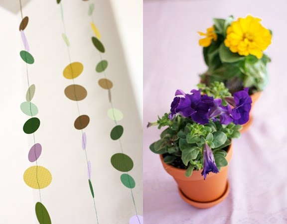 paper on pot or on flower card pick holder. A little flower in a pot ...