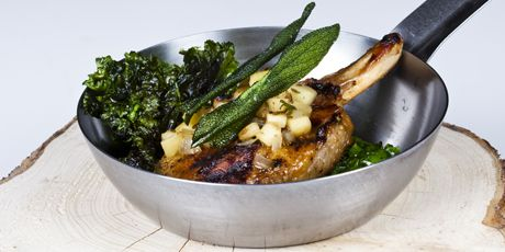 Honey and Maple-Brined Pork Chops with Apple & Onion Chutney and Kale ...