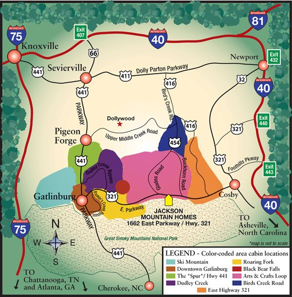 Gatlinburg area map jackson mountain homes 866 518 0498 great
