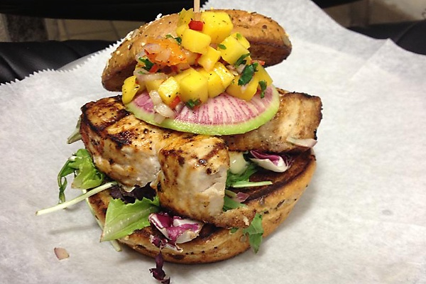Blackened Swordfish Sandwich topped with a Mango Salsa, Mixed Greens ...