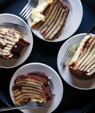 Smith Island Cake -- eight layers of buttery yellow cake with chocolate-fudge icing