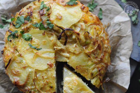 ... traditional Tortilla Española with a twist! Oven-baked Leek Tortilla