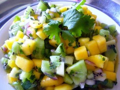 "Paula's kiwi mango salsa (even though Rog said, ""Uh, that stuff isn&..."
