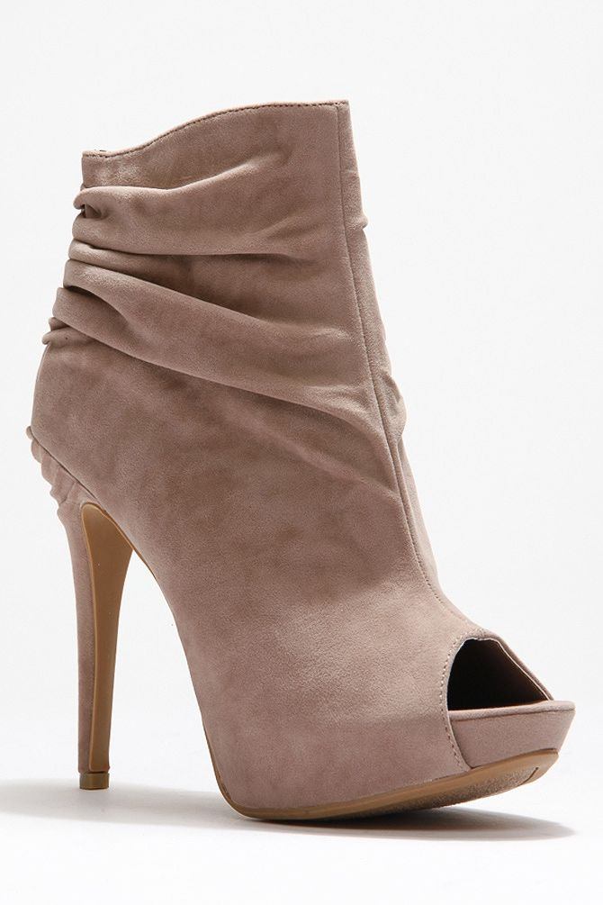 Anne Michelle Ruffled Peep Toe Booties - Booties - Shoes