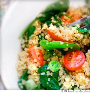 Warm Quinoa and Spinach Salad With Grape Tomatoes