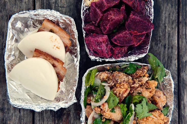 ... . thai chicken karaage + pork belly buns + deep fried roasted beets