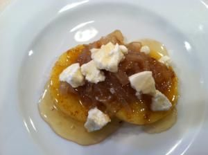 Griddled Polenta Cakes with Caramelized Onions, Goat Cheese, and Hone ...