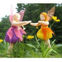 Blossom Fairy Dolls. Handmade of cotton, wool, and silk with real leaf wings!