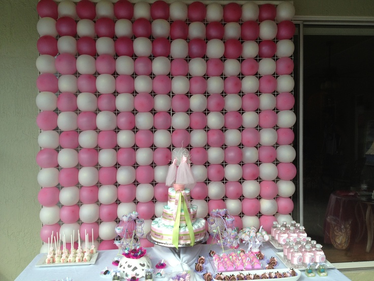 Pink and white balloon wall | balloon decorations | Pinterest
