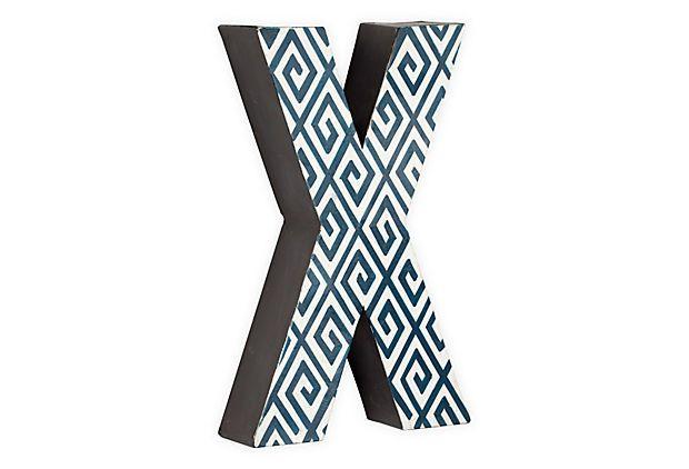 Letter X, Navy Greek Key on OneKingsLane.com