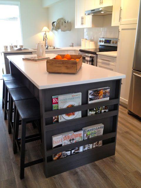 Magazine book rack on kitchen island kitchen ideas for Kitchen ideas book