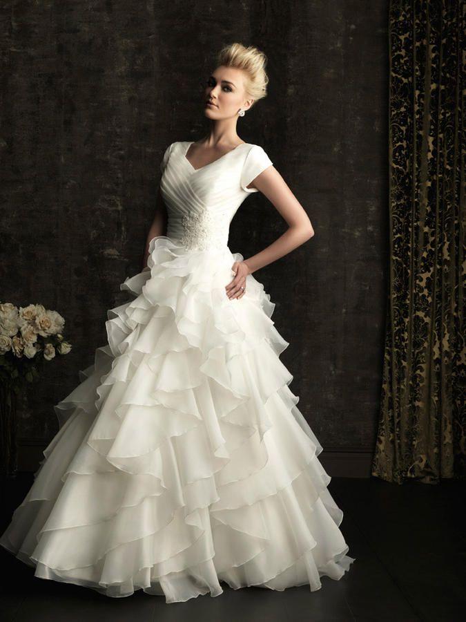 Modest Ruffle Wedding Dresses : Modest wedding dress ellen s weedding